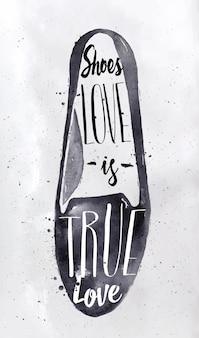 Chaussures modernes dans le style rétro lettrage chaussures love is true love dessin à l'encre noire