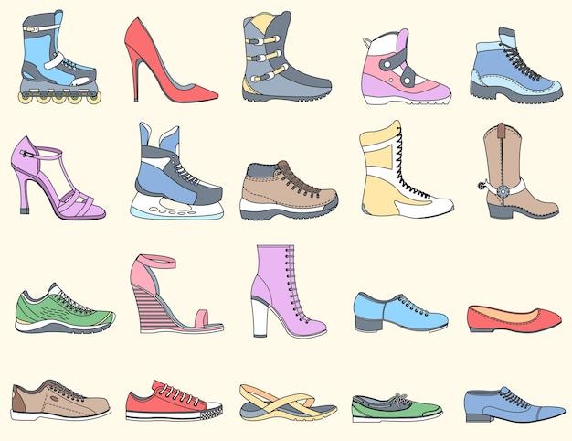 Chaussures plates fines lignes définies icônes éléments concept fond illustration