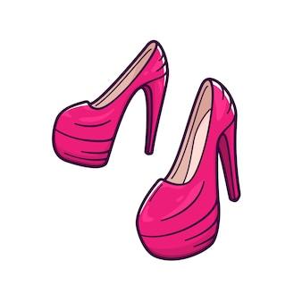 Chaussures roses féminines à talons hauts.