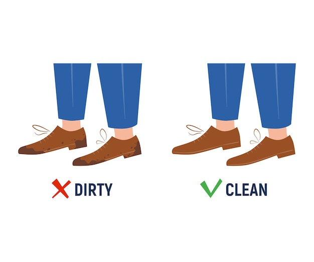 Chaussures sales et propres. avant et après. signe isolé sur fond blanc. style plat et dessin animé