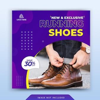 Chaussures de sport de couleur bleue modèle de bannière de publication de médias sociaux vecteur premium