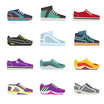 Chaussures de sport, ensemble de chaussures différentes chaussures de sport. illustration de chaussures de course colorées
