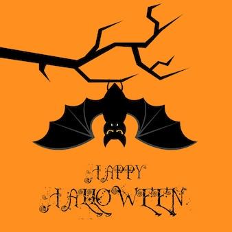 Chauve-souris accrochée à l'arbre carte d'halloween heureux. design plat. fond orange illustration vectorielle