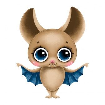 Chauve-souris brune de dessin animé mignon avec de grands yeux