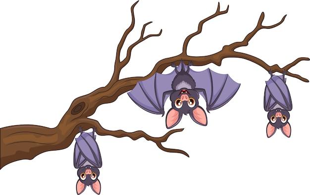 Chauve-souris de dessin animé heureux suspendu à un arbre