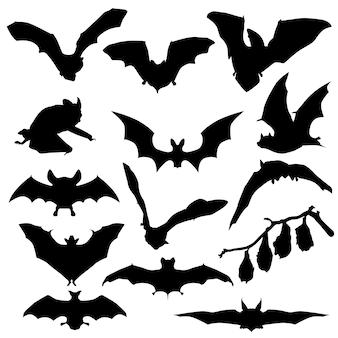 Chauve-souris halloween animal cave clipart symbole silhouette vector
