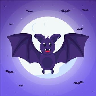 Chauve-souris d'halloween design plat