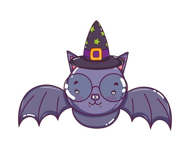 Chauve-souris portant des lunettes avec chapeau de sorcière
