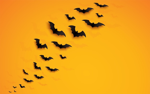 Chauves-souris halloween survolant fond orange