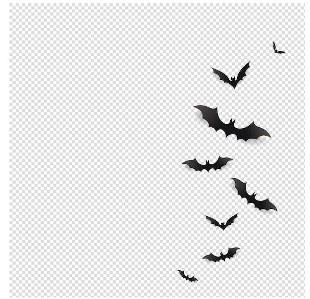 Chauves-souris noires volant dans