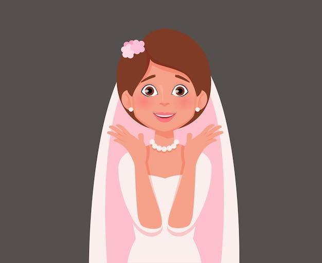 Cheerful bride a surpris de réagir. illustration vectorielle.