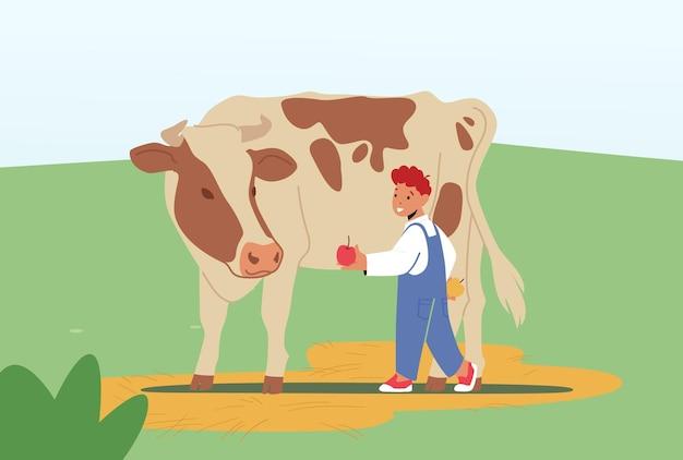 Cheerful kid nourrir une vache mignonne à la ferme ou au parc zoologique en plein air. petit garçon donnant une pomme au veau. le personnage de l'enfant passe du temps dans le parc animalier pendant le week-end. illustration vectorielle de dessin animé