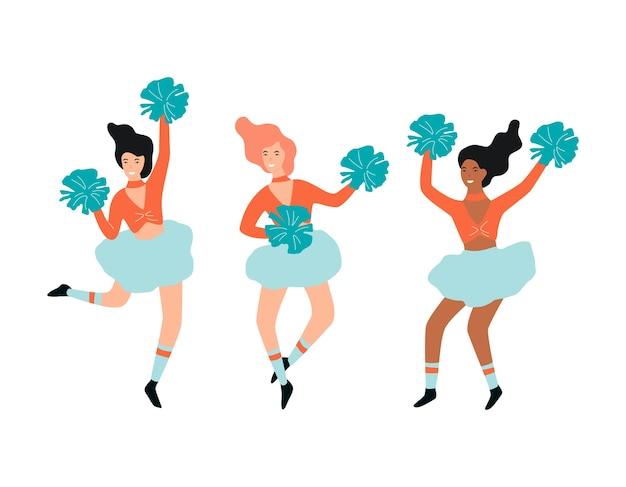 Cheerleader dans l'ensemble uniforme. danseuse de belle fille