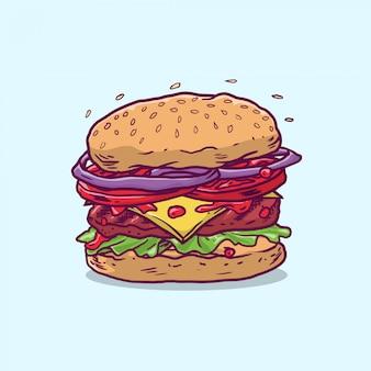 Cheese burger avec boeuf et légumes frais dessinés à la main