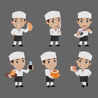 Chef asiatique tenant un cuisinier japonais