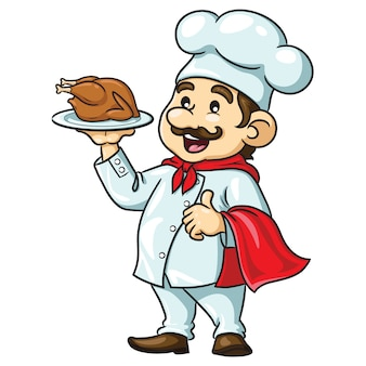 Chef de bande dessinée avec du poulet rôti