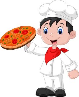 Chef de bande dessinée avec pizza