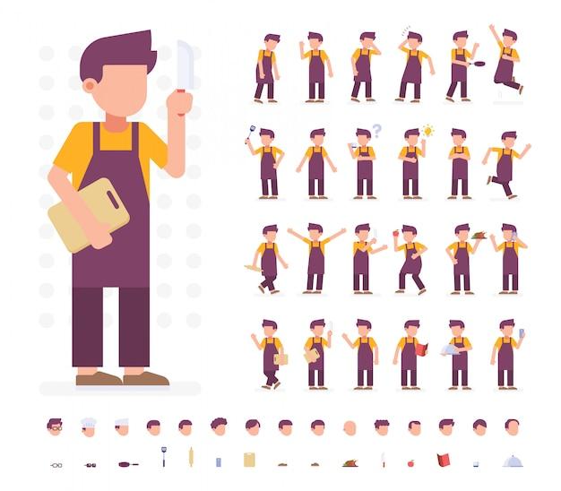 Chef character set dans différentes poses