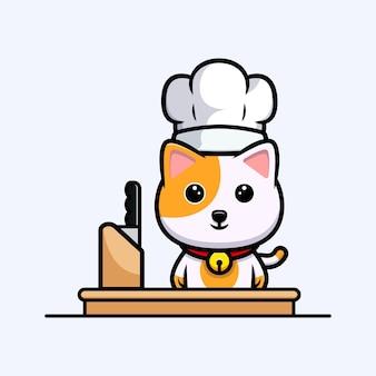 Chef de chat mignon prêt à cuisiner mascotte de dessin animé