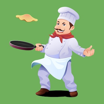 Chef cooking omelete