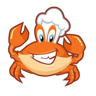 Chef crabe dessin animé mignon