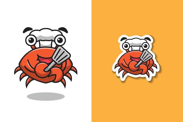 Chef de crabe tenant illustration de la spatule