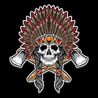 Chef de crâne indien avec hache