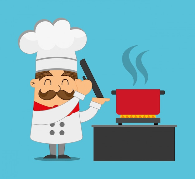Chef cuisinant illustration