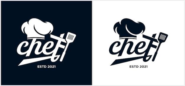 Chef de cuisine mot-symbole logo modèle chef logo main lettrage avec chapeau chef symbole icône logo design