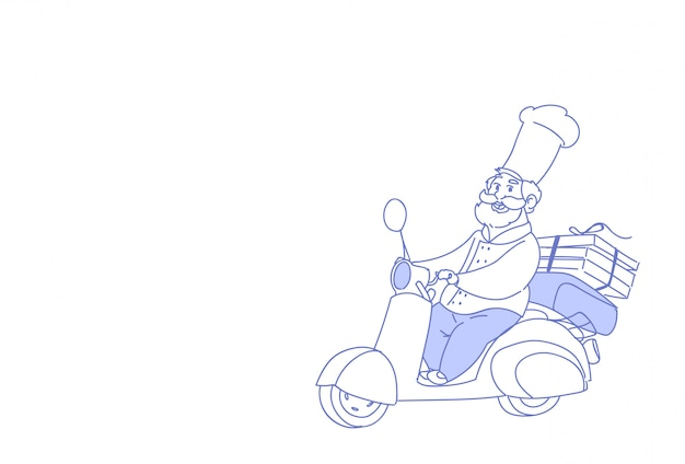Chef cuisinier chevauchée scooter électrique pizza livraison rapide