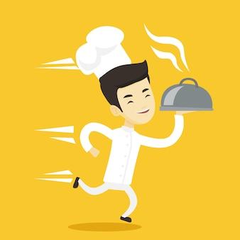Chef cuisinier en cours d'exécution.