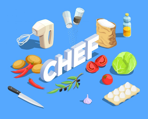 Chef cuisinier fond isométrique
