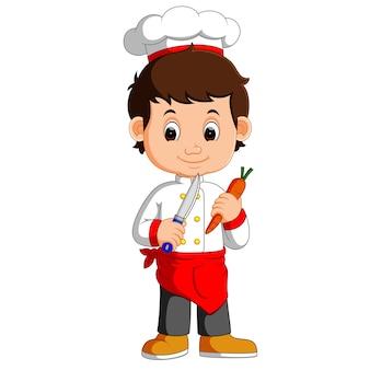 Chef cuisinier, tenue, cleaver, couteau, carotte, dessin animé