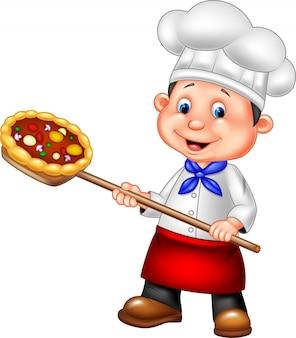Chef cuistot, tenue, pizza
