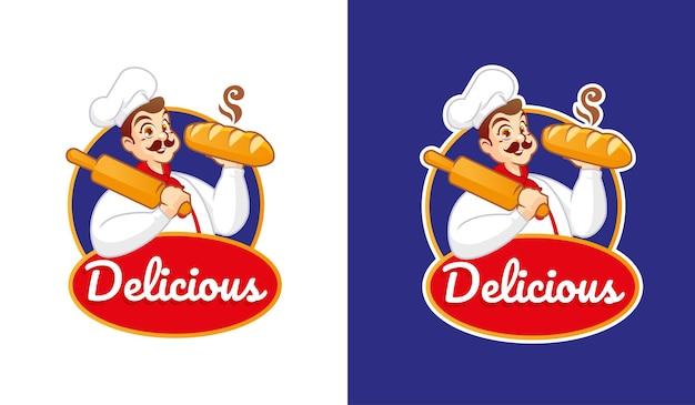Un chef avec un délicieux logo de mascotte de pain