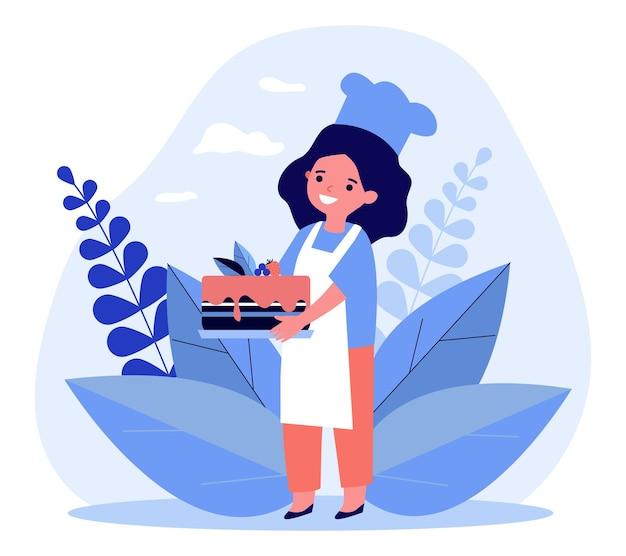 Chef enfant tenant le gâteau cuit à la maison. tarte, dessert, mets sucré. illustration vectorielle plane
