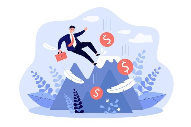 Chef d'entreprise faisant une erreur et tombant du haut de la montagne. un failli imprudent perd de l'argent