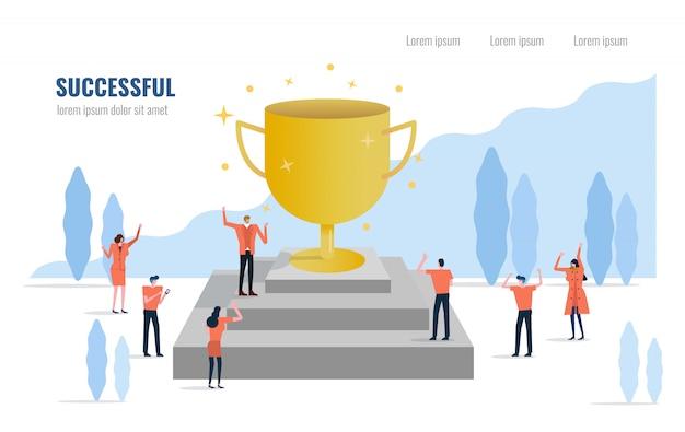 Chef d'entreprise avec un trophée