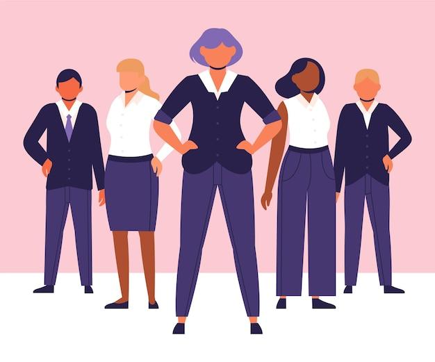 Chef d'équipe féminin dessiné à la main dans un groupe de personnes