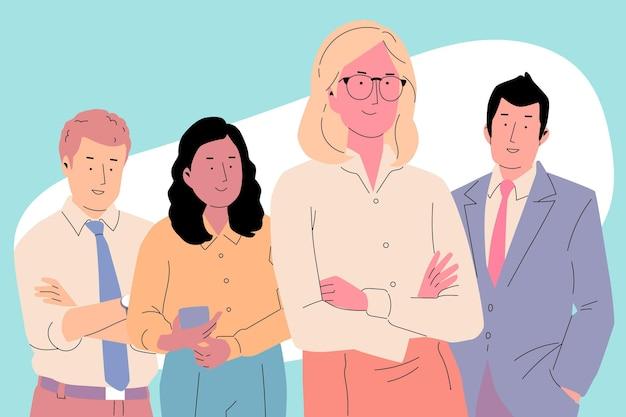 Chef d'équipe féminin dessiné à la main illustré