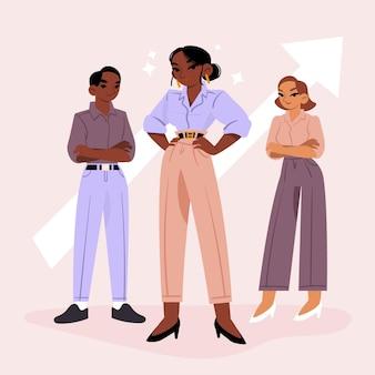 Chef d'équipe féminin dessiné à la main