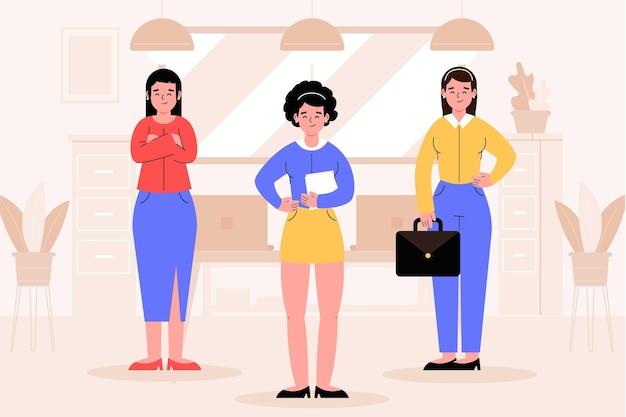 Chef d'équipe féminin illustré