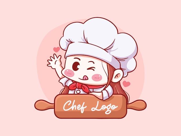 Chef féminin mignon et kawaii avec rouleau à pâtisserie manga chibi illustration logo