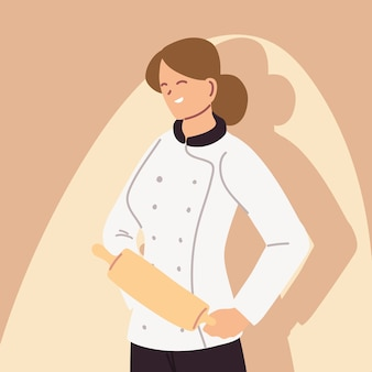 Chef féminin en uniforme, conception d'illustration de boulanger