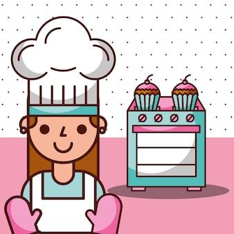 Chef fille et cuisinière avec des cupcakes dessert