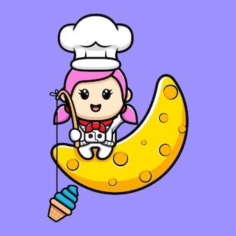 Chef de fille mignonne attrapant la crème glacée de la conception de la mascotte de la lune