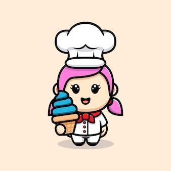 Chef de fille mignonne avec la conception de mascotte de crème glacée