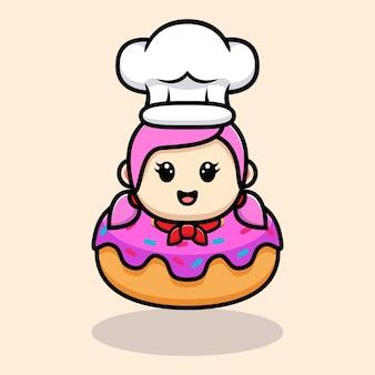 Chef de fille mignonne à l'intérieur de la conception de mascotte de beignet