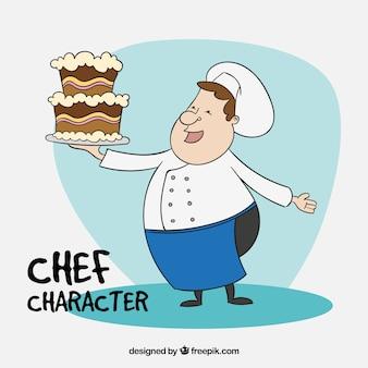 Chef avec un fond de gâteau