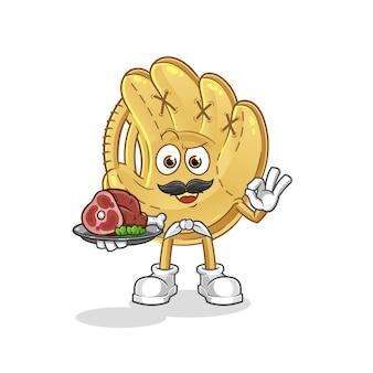 Chef de gant de baseball avec mascotte de viande. dessin animé